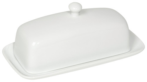 Butter never looked better than when placed on a stoneware dish with a matching lid.  Stoneware H4 x W8 x D4 inch Made in China