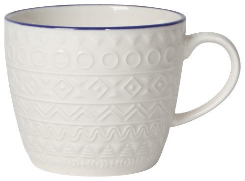 No matter the beverage, embossed mugs make sipping a more unique experience. Simple motifs encircle each mug, adding textural intrigue.  Porcelain 12 oz Made in China