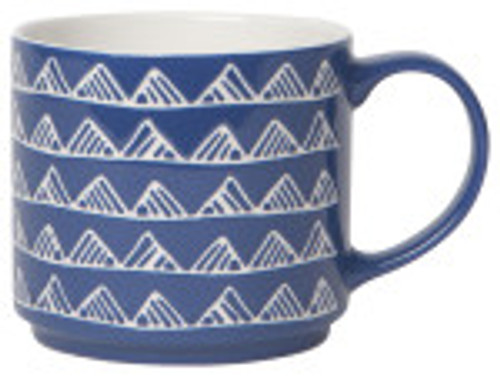 Trace the textured designs of this mug while enjoying your morning coffee or tea. Mugs stack on top of each other for convenient storage.  Stoneware 16 oz Made in China