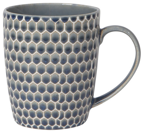 Gradations of watery blues is the result of a special glaze technique used to create this unique surface. Made from durable stoneware, this modern mug features a honeycomb embossed design.  stoneware 14 oz Made in China Dishwasher and microwave safe