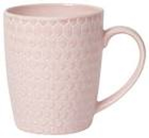 Gradations of rosy pink is the result of a special glaze technique used to create this unique surface. Made from durable stoneware, this modern mug features a honeycomb embossed design.  stoneware 14 oz Made in China Dishwasher and microwave safe