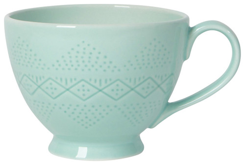 Take a sip of tea from a pretty pastel mug. The debossed surface adds tactile intrigue while an interior motif makes for a delightful surprise.  Stoneware 16 oz Made in China Dishwasher & microwave safe