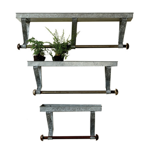 Galvanized Shelves, Set of 3