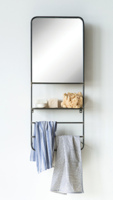 Metal Wall Mirror w/Shelves and Rod