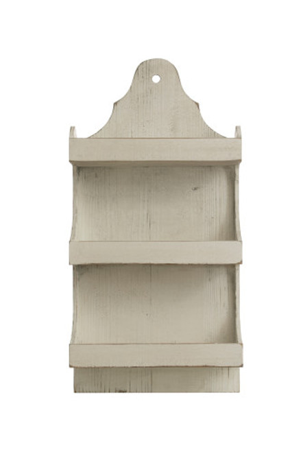 3-Tier Wall Shelf, Antique White Finish