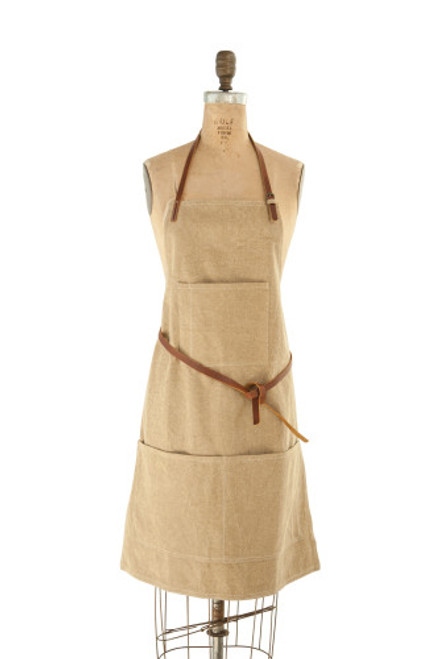 Canvas Apron w/ Pockets & Leather Ties, Khaki