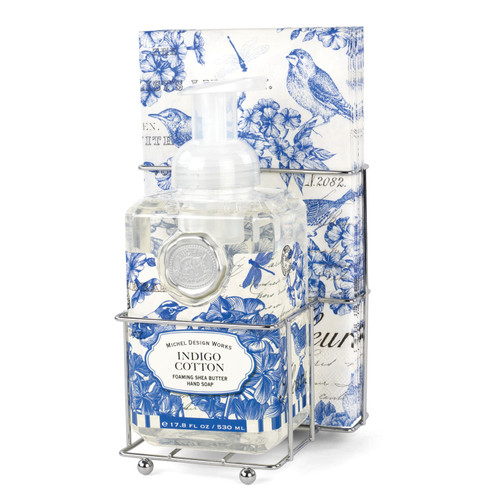 Indigo Cotton Foaming Hand Soap & Napkin Set