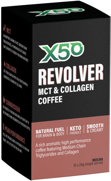X50 Revolver MCT and Collagen Coffee Mocha 10 x 10g Sachets