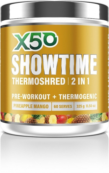 X50 Showtime Thermoshred 2 in 1 Pineapple Mango G/F 325g