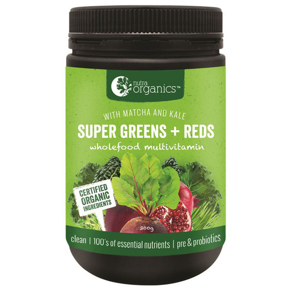 Nutra Organics Super Greens Plus Reds Powder 300g