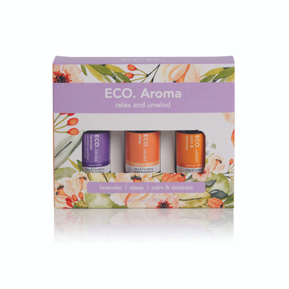 Eco Aroma Essential Oil Trio Relax and Unwind 10ml x 3 Pack