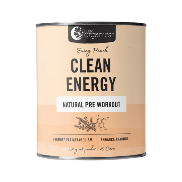 Nutra Organics Clean Energy Jucy Peach 250g Powder