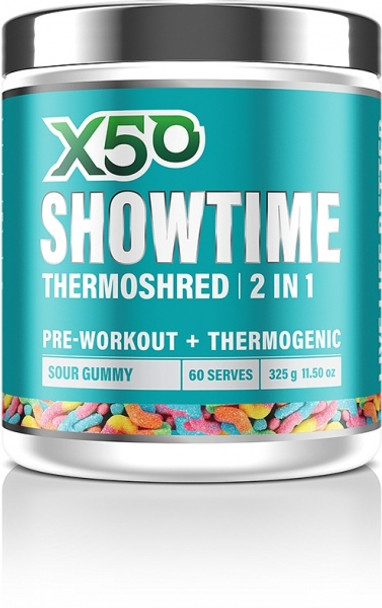 X50 Showtime Thermoshred 2 in 1 Sour Gummy G/F 325g
