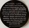 JOY DIVISION Closer Live -2021 Import LP w/HYPE Label