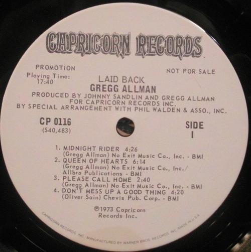 GREGG ALLMAN Laid Back - Original Promo LP w/Like New WL Vinyl