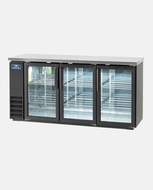 "Arctic Air ABB72G 72"" Back Bar Refrigerator, 3 Glass Doors"