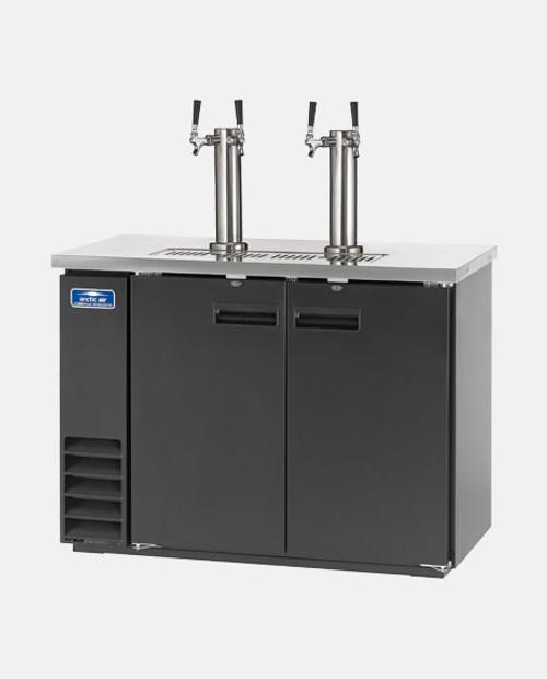 """Arctic Air ADD48R-2 48"""" 2 Double Tap Kegerator Beer Dispenser - (2) 1/2 Keg Capacity, Black"""