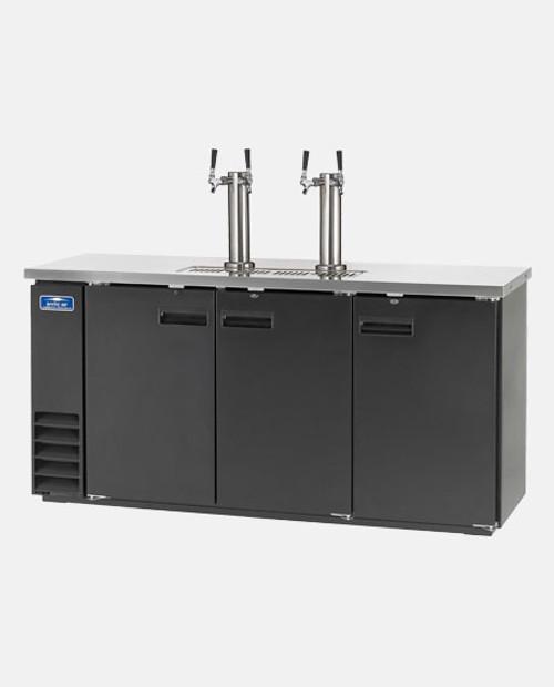 """Arctic Air ADD72R-2 72"""" 2 Double Tap Kegerator Beer Dispenser - (4) 1/2 Keg Capacity, Black"""