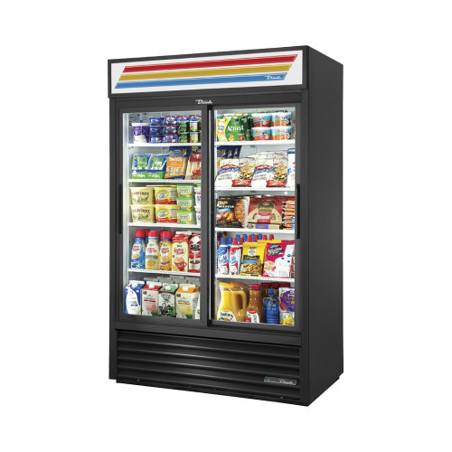 "True GDM-45-HC-LD 51"" Glass Door Display Refrigerator - Black"