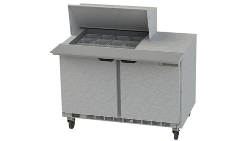 "Beverage Air SPE48HC-12M 48"" Mega Top Sandwich Prep Table - with Clear Lid"