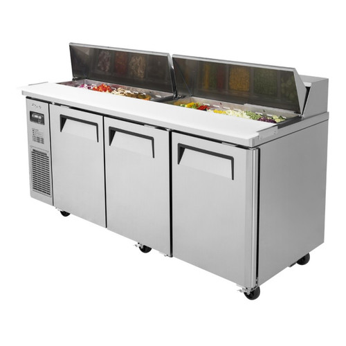 Turbo Air JST-72-N J Series Sandwich/Salad Prep Table, Side Mount, 3 Solid Doors