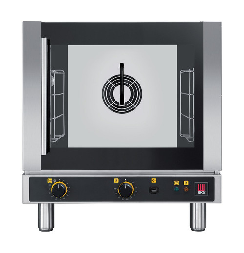 EKA EKFA 412 AL UD Electric Half Size Countertop Convection Oven with Steam - Manual Controls and Left Door - 4 Trays - 208-240V Single Phase