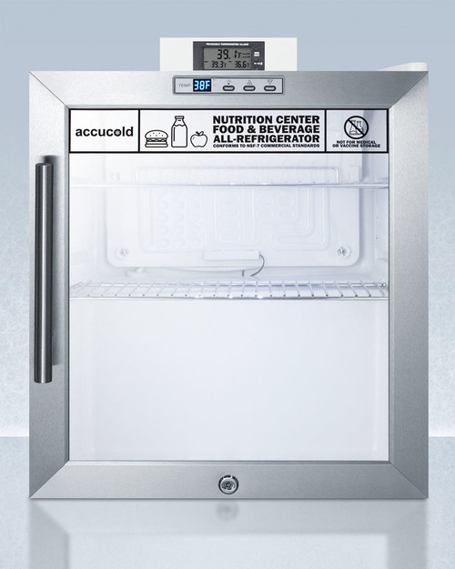 "Accucold SCR215LNZ 17"" Nutrition Center Refrigerator - 1.7 Cu. Ft., Glass Door"