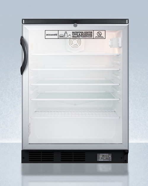 "Accucold SCR600BGLBINZ 24"" Nutrition Center Refrigerator - 5.5 Cu. Ft., Glass Door"