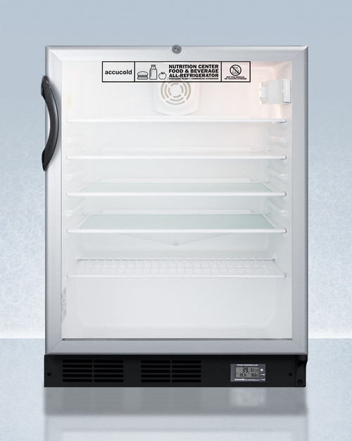 "Accucold SCR600BGLBINZADA 24"" Nutrition Center Refrigerator - 5.5 Cu. Ft., Glass Door, ADA Height"