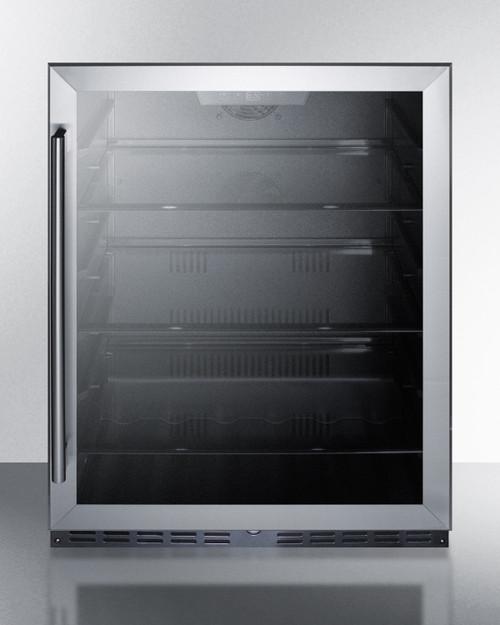 "Summit AL57G 24"" Built-In Glassdoor Undercounter Refrigerator, 4.8 Cu. Ft."