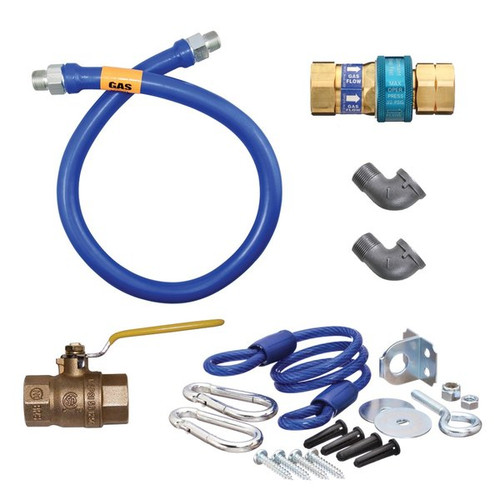 "Dormont 16100KIT60 SnapFast 60"" Gas Connector Kit with Two Elbows and Restraining Cable - 1"" Diameter"
