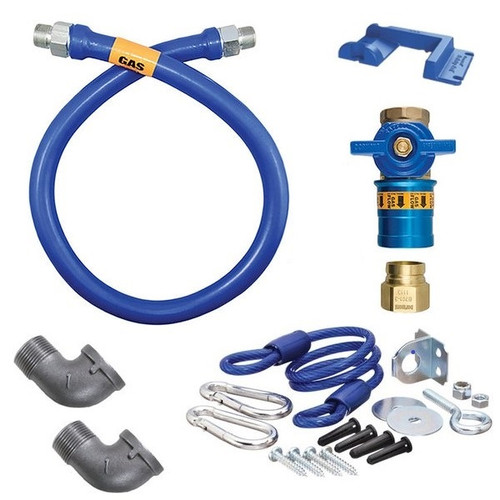 "Dormont 1675KITCF72PS Safety Quik 72"" Gas Connector Kit with Two Elbows, Restraining Cable and Safety-Set - 3/4"" Diameter"