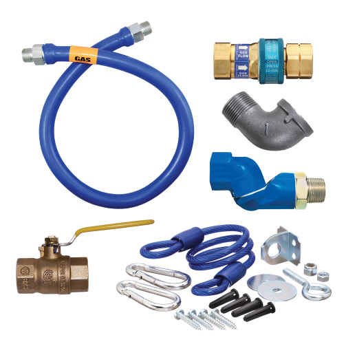 "Dormont 1675KITS60 SnapFast 60"" Gas Connector Kit with Swivel MAX, Elbow, and Restraining Cable - 3/4"" Diameter"