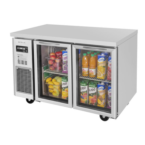 Turbo Air JUR-48-G-N J Series Undercounter Refrigerator, Side Mount, 2 Glass Doors