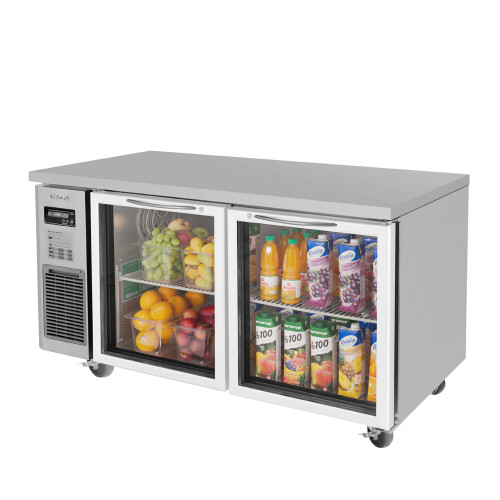 Turbo Air JUR-60-G-N J Series Undercounter Refrigerator, Side Mount, 2 Glass Doors