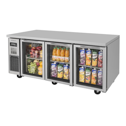 Turbo Air JUR-72-G-N J Series Undercounter Refrigerator, Side Mount, 3 Glass Doors