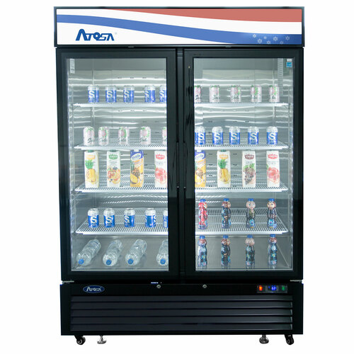 Atosa MCF8723GR Swing Glass Door Merchandiser Refrigerator, (2) Doors, Black Exterior [Front]