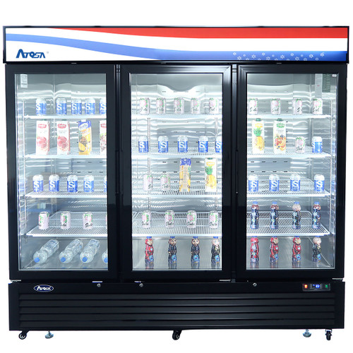 Atosa MCF8724GR Swing Glass Door Merchandiser Refrigerator, (3) Doors, Black Exterior [Front]