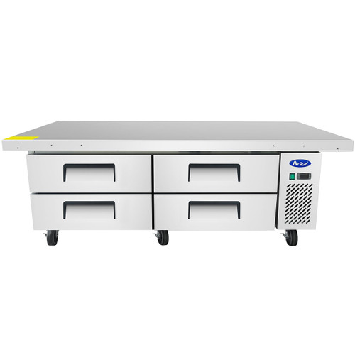 "Atosa MGF8454GR 76"" Four Drawer Refrigerated Chef Base, Extended Top (MGF8454GR)"