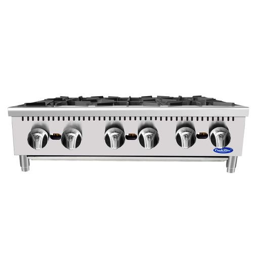 "Atosa ATHP-36-6 36"" Heavy Duty Countertop Range / Hot Plate with 6 Burners - 150,000 BTU (ATHP-36-6)"