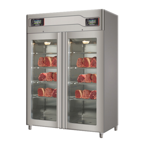 "Omcan MATCTWITF 58"" Glass Door Stainless Steel Twin Meat Aging Cabinet - 220 lb. + 220 lb., 220V, 3700W"