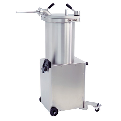 Omcan  Stainless Steel Hydraulic Piston Sausage Stuffer - 65 lb. with 2 Swivel Casters, 208V 3Ph
