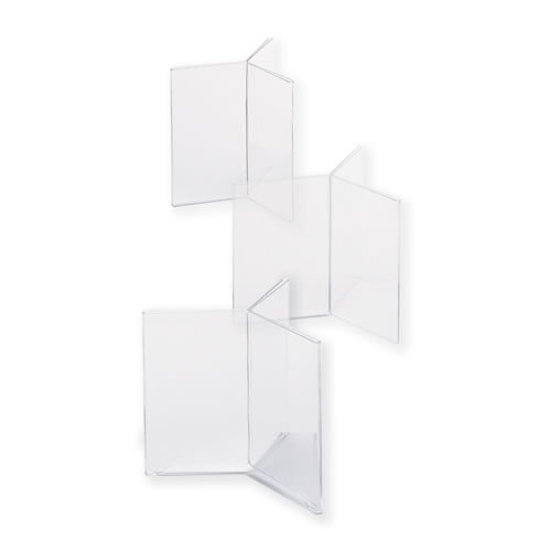 """Goldleaf Plastics Three Wing Footed Card Holder for 4""""w x 6""""h marketing material."""