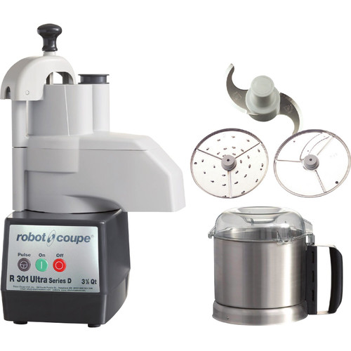 Robot Coupe R301 Ultra Combination Continuous Feed Food Processor with 3.5 Qt. Stainless Steel Bowl - 1.5 hp