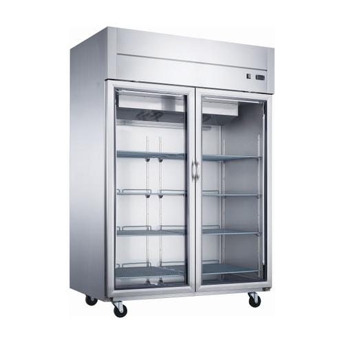 """Dukers D55AR-GS2 55 1/8"""" Glass Door Reach-In Refrigerator, 2 Doors"""