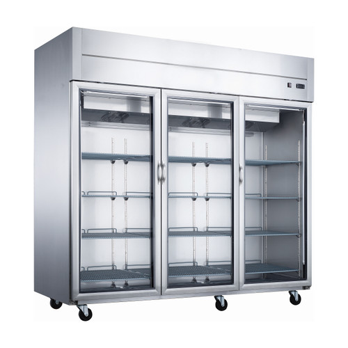 """Dukers D83AR-GS3 84 1/4"""" Glass Door Reach-In Refrigerator, 3 Doors"""