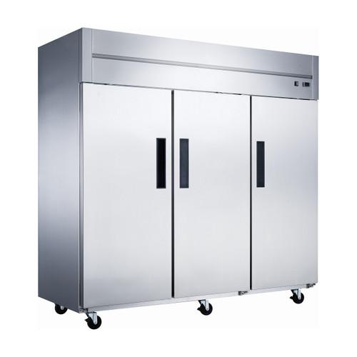 """Dukers D83AR 84 1/4"""" Solid Door Reach-In Refrigerator, 3 Doors"""