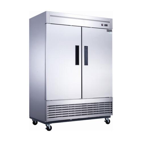 """Dukers D55R 55 1/8"""" Solid Door Reach-In Refrigerator, 2 Doors"""