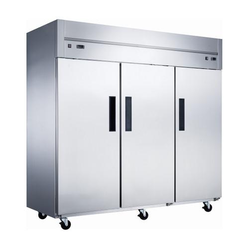 "Dukers D83ARF 82 5/8"" Reach-In Dual Temperature Refrigerator/Freezer Combo, 3 Doors, Top Mounted"