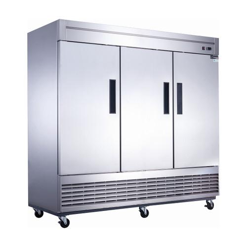 "Dukers D83RF 82 5/8"" Reach-In Dual Temperature Refrigerator/Freezer Combo, 3 Doors, Bottom Mounted"